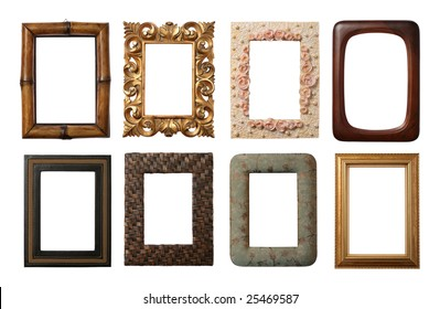 8 different frames isolated on white