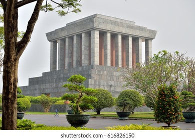 8 february 2017 ,Hanoi, Vietnam. The Mausoleum and garden.