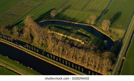 8 January 2018, Westbeemster, Holland. Aerial view of Fort Aan De Jisperweg of the Defence Line Stelling van Amsterdam. It is part of the Hollandse Waterlinie and a UNESCO World Heritage Site.