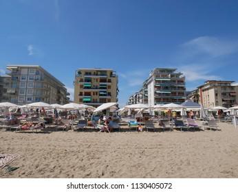 8 july 2018-jesolo-italy-the beautiful beach of Jesolo in Veneto