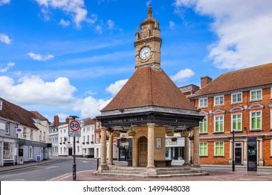 8 June 2019: Newbury, Berkshire, UK - The Clock House, a 20th Century clock tower in Newbury, Berkshire.