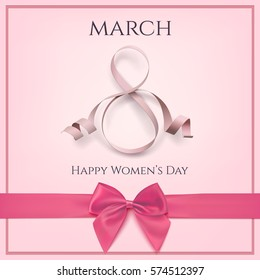 8 March greeting card template with pink bow. International Women's day background or brochure.
