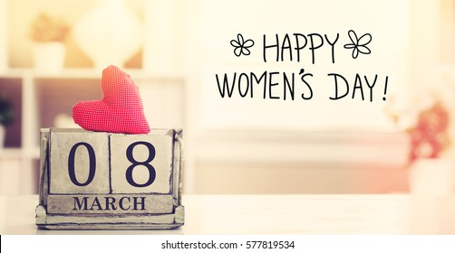 8 March Happy Women's Day message with wooden block calendar