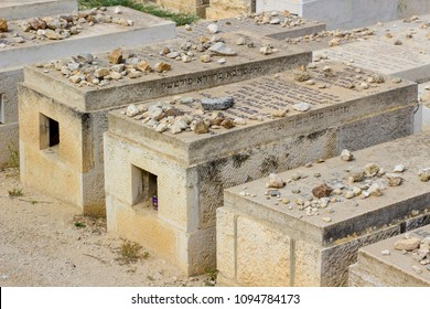 8 May 2018 Mount of Olives cemetery Jerusalem Israel Some of the many tombs in the famous Jewish burial place to the east of the old walled city of Jerusalem