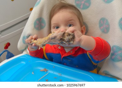 8 month baby, eating a turkey leg by itself