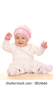 8 months baby girl isolated on white