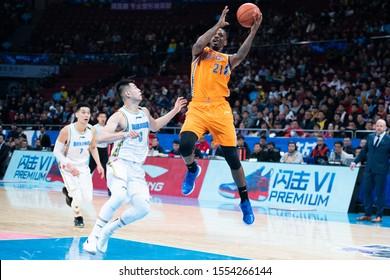 8 Nov, 2019 - Beijing, China: Former NBA player James Nunnally shoots during the game between Beijing Shougang Ducks v Shanghai Sharks.