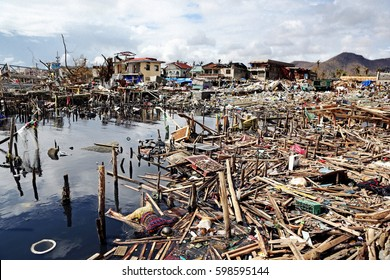 8 November 2013. Tacloban, Philippines.Typhoon Haiyan, known as Super Typhoon Yolanda in the Philippines, was one of the most intense tropical cyclones on record.