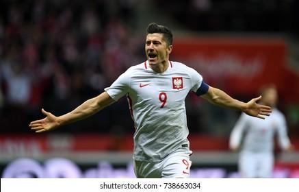 8 OCTOBER, 2017 - WARSAW, POLAND: Football World Cup Rusia 2018 qualification match Poland - Montenegroo/p Robert Lewandowski (Poland) celebrates his goal