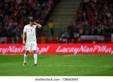 8 OCTOBER, 2017 - WARSAW, POLAND: Football World Cup Rusia 2018 qualification match Poland - Montenegroo/p Robert Lewandowski (Poland)