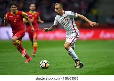 8 OCTOBER, 2017 - WARSAW, POLAND: Football World Cup Rusia 2018 qualification match Poland - Montenegroo/p Kamil Grosicki (Poland)