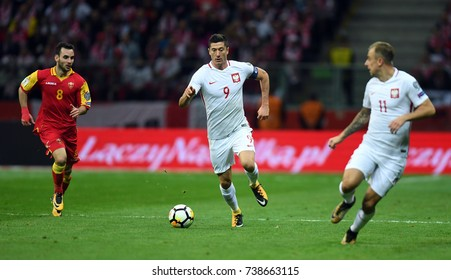 8 OCTOBER, 2017 - WARSAW, POLAND: Football World Cup Rusia 2018 qualification match Poland - Montenegroo/p Marko Jankovic (Montenegro) Robert Lewandowski (Poland)