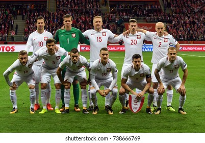 8 OCTOBER, 2017 - WARSAW, POLAND: Football World Cup Rusia 2018 qualification match Poland - Montenegroo/p Poland team photo line up