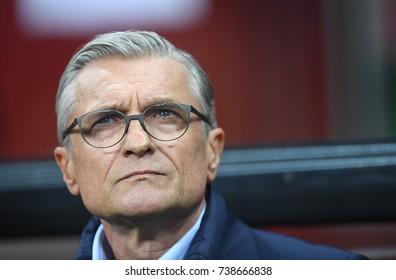 8 OCTOBER, 2017 - WARSAW, POLAND: Football World Cup Rusia 2018 qualification match Poland - Montenegroo/p Adam Nawalka Coach (Poland)