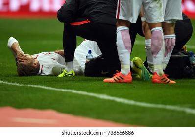 8 OCTOBER, 2017 - WARSAW, POLAND: Football World Cup Rusia 2018 qualification match Poland - Montenegroo/p Lukasz Piszczek (Poland) injury