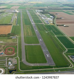 8 October 2018, Lelystad, Holland. Aerial view of airport Vliegveld Lelystad after the runway has been extended. Now the aerodrome is ready to host large jetplanes and general aviation.
