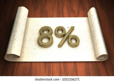 8 per cent, golden numbers, over open paper, 3d rendering