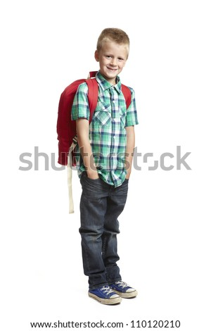 6085c9f554 8 Year Old School Boy Backpack Stock Photo (Edit Now) 110120210 ...