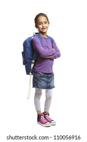 8 year old school girl arms folded with backpack smiling on white background