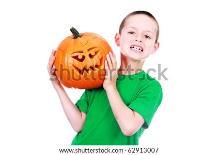 8 Years Old Boy Halloween Pumpkin Stock Photo Edit Now 62913007