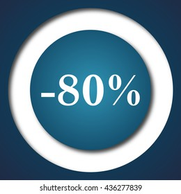 80 percent discount icon. Internet button on white background.