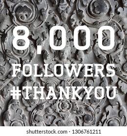 8000 followers sign - social media milestone banner. Online community thank you note. 8k likes.