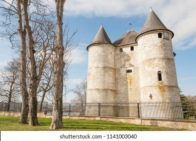 800-year old historical castle Chateau des Tourelles in Normandy, France