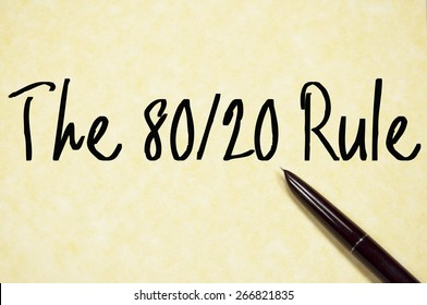 the 80/20 rule text write on paper