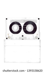 80s cassette tape on plastic cassette tape cases no label  pack on white background.