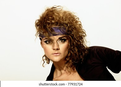 80's Fashion woman  over gray background