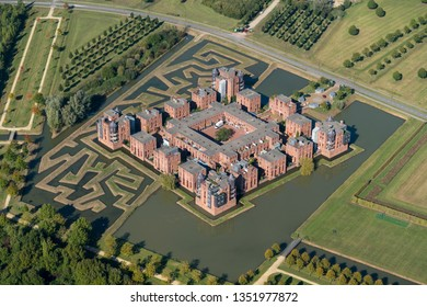 8-10-2018, Den Bosch, Holland. Aerial view of new modern residential area with appartments in a castle housing comlex. It is retro in the shape of a fortress. This is Lelienhuyze in Engelen area.