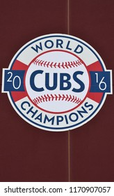 8/25/18 Mesa Arizona The 2016 World Championship sign at Sloan Park the spring training facility of the Chicago Cubs