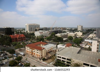 8-27-2018 Santa Ana, California: Santa Ana and Surrounding Cities Sky Line as seen from the roof of a 10 story building.