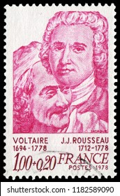836 Paris, France - 1978: Voltaire(1694-1778), writer, and Jean Jacques Rousseau (1712-1778),Genevan philosopher, writer and composer, symbol of the Enlightenment. Stamp issued by French Post in 1978.