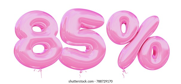 85% off discount promotion sale made of realistic 3d Pink helium balloons. Illustration of balloon percent discount collection for your unique selling poster, banner ads; Valentine's day sale and more