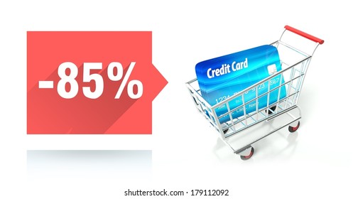 85 percent sale with shopping cart and credit card
