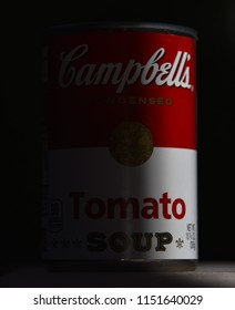 8/7/18 Glendale Arizona - Light and shadow composition of a Campbell's Tomato soup can Homage to Andy Warhol