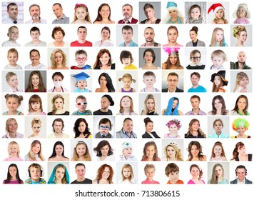 88 faces - children, adults, teens, seniors, collage with 56 models