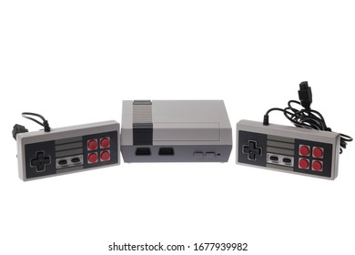 8bit retro video game console with two joysticks isolated on white
