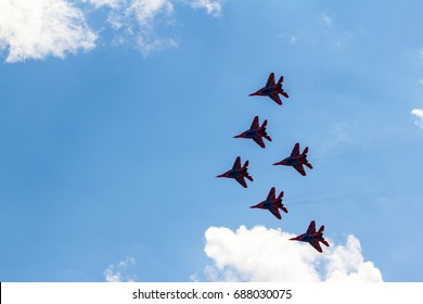 """8.International Aviation and Space Salon MAKS 2017. Russia,Zhukovsky. 23.07.2017. Aerobatic team """"Strizhi"""" on the MiG-29 fighters"""