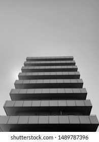 8-storey building in black and white