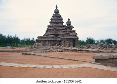 """8th Century Shore Temple of Mahabalipuram, Tamilnadu, South India"""