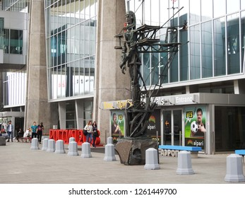 8th of July 2018 - View to a tall metal sculpture in front of  Pulkovo  Airport, Saint Petersburg, Russia