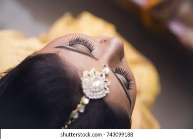 8th October 2017 Guwahati, Assam, India. an Assamese bride on her wedding day after her makeup