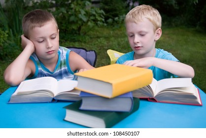 8-year and 6-year boys reading books outdoors