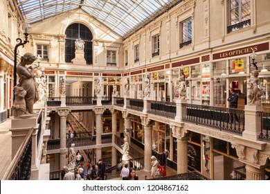 9 April 2015: Nantes, Loire Atlantique, France - Passage Pommeraye, a beautiful old shopping mall.
