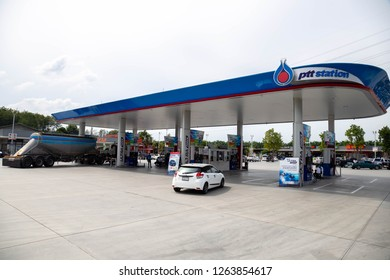 9 December 2018 Rayong, Thailand : PTT gas station or petrol station. PTT Public Company Limited is popular petrol station of Thailand. Nowadays it has estimated 1,640 stations all over the country