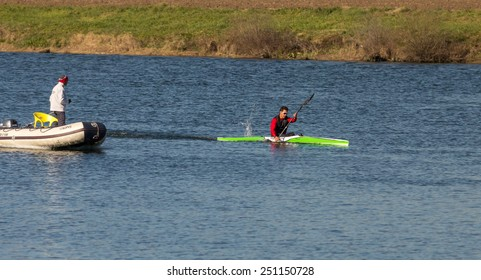 9 February 2015 - Emanuel Silva Canoeing Olympic Champion from Portugal, training in Cavado River, at the morning sun