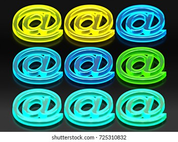 9 glassy e-mail symbols, green, yellow and blue neon light. 3d illustration