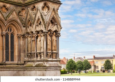 9 July 2017: Wells, Somerset, England, UK - A detail of Wells Cathedral and Cathedral Green.